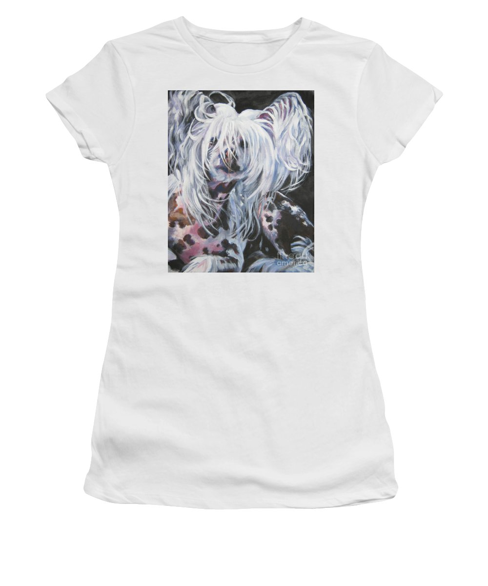 Dog Women's T-Shirt (Athletic Fit) featuring the painting Chinese Crested by Lee Ann Shepard