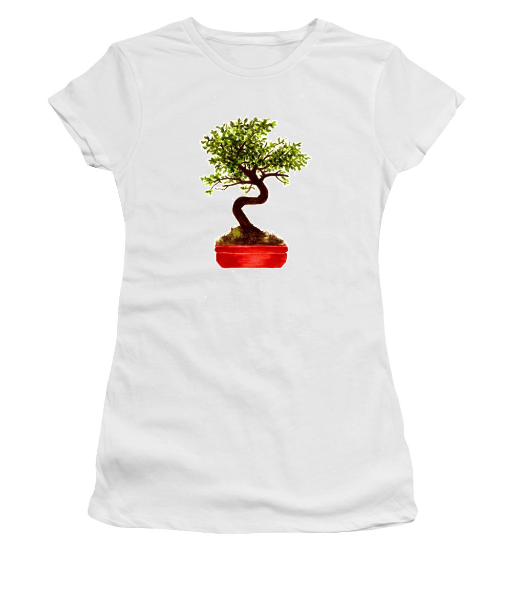 Tree Women's T-Shirt (Athletic Fit) featuring the painting Chinese Elm Bonsai Tree by Michael Vigliotti