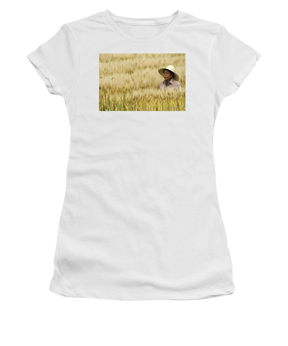 Asia Women's T-Shirt (Athletic Fit) featuring the photograph Chinese Rice Farmer by Michele Burgess