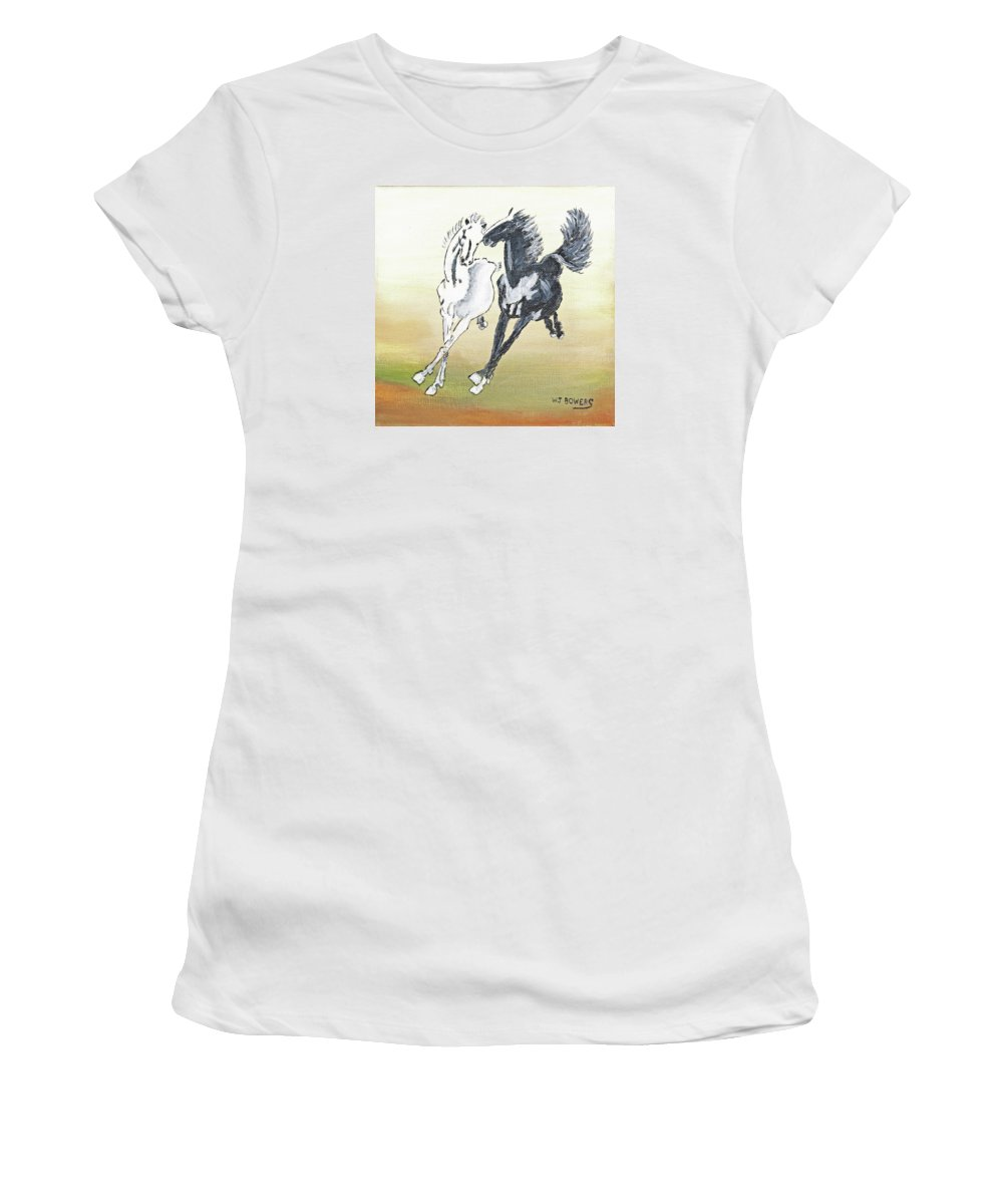 Horses Women's T-Shirt (Athletic Fit) featuring the painting Chinese Running Horses by William Bowers