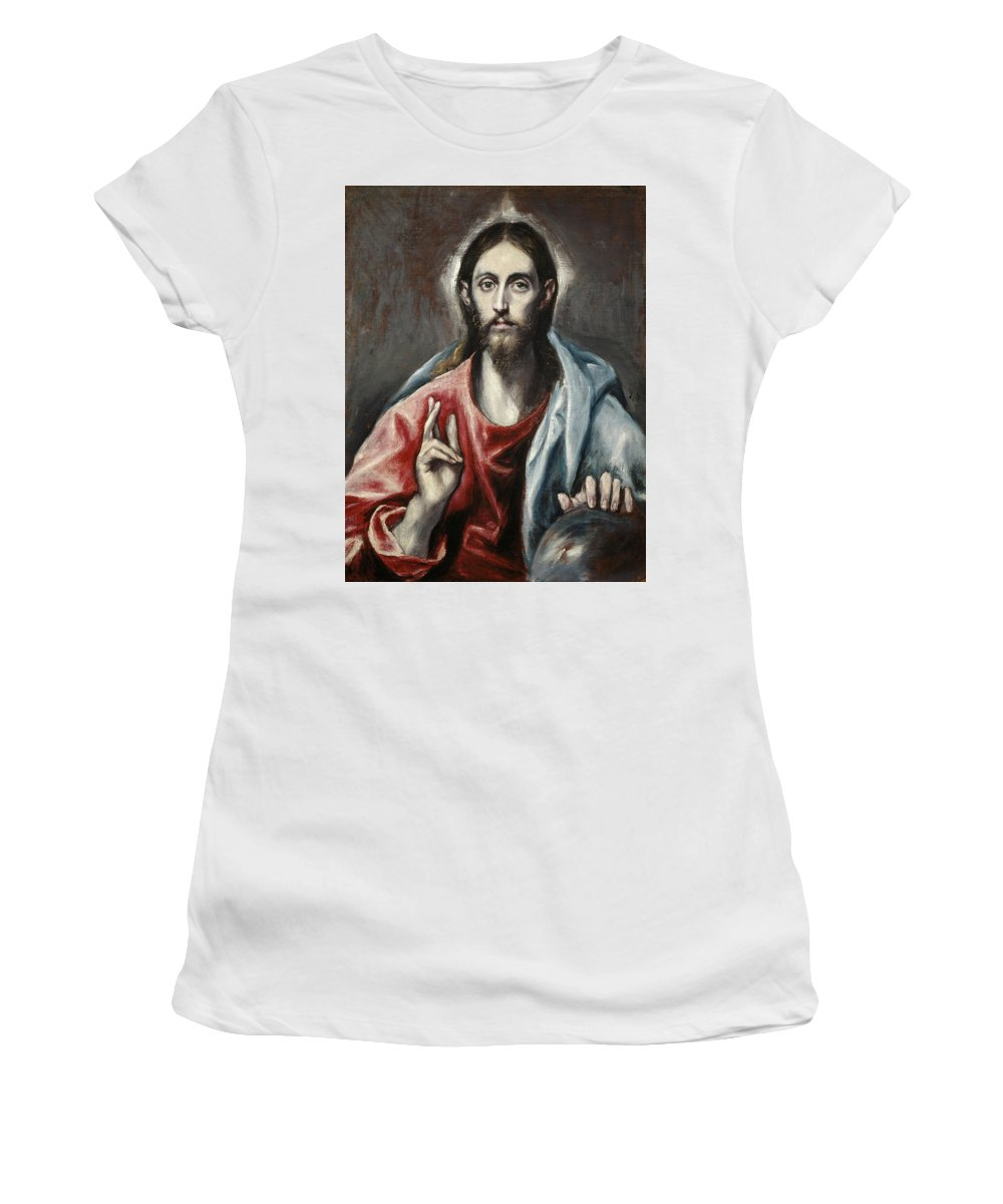 Christ Women's T-Shirt featuring the painting Christ Blessing, The Saviour Of The World by El Greco