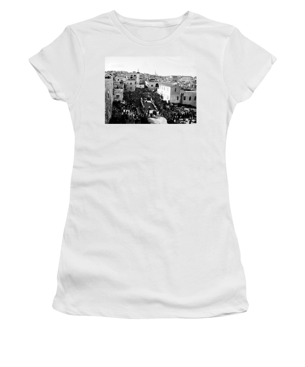 Christmas Women's T-Shirt (Athletic Fit) featuring the photograph Christmas Celebration In 1901s by Munir Alawi