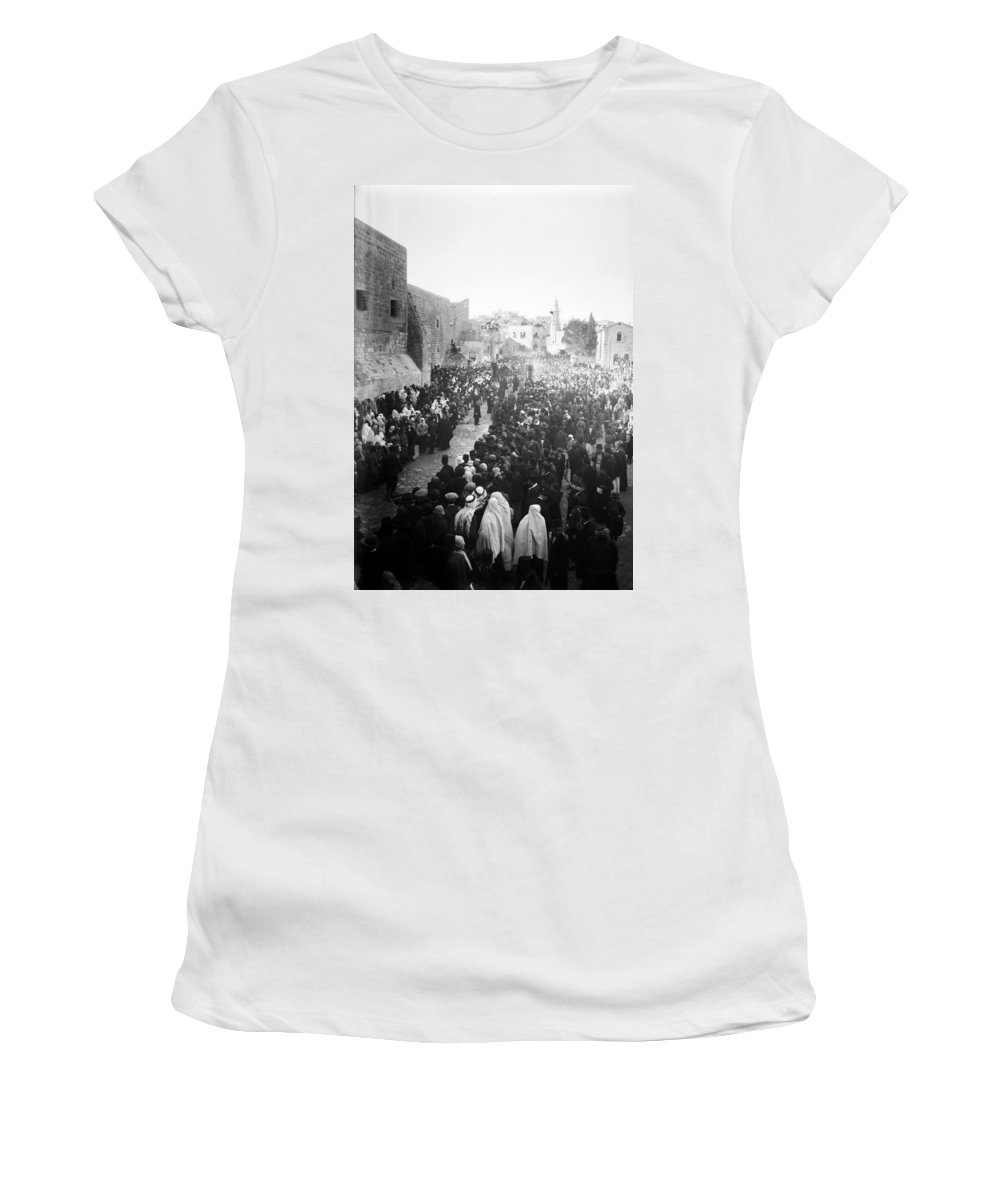 Bethlehem Women's T-Shirt (Athletic Fit) featuring the photograph Christmas Celebration5 by Munir Alawi