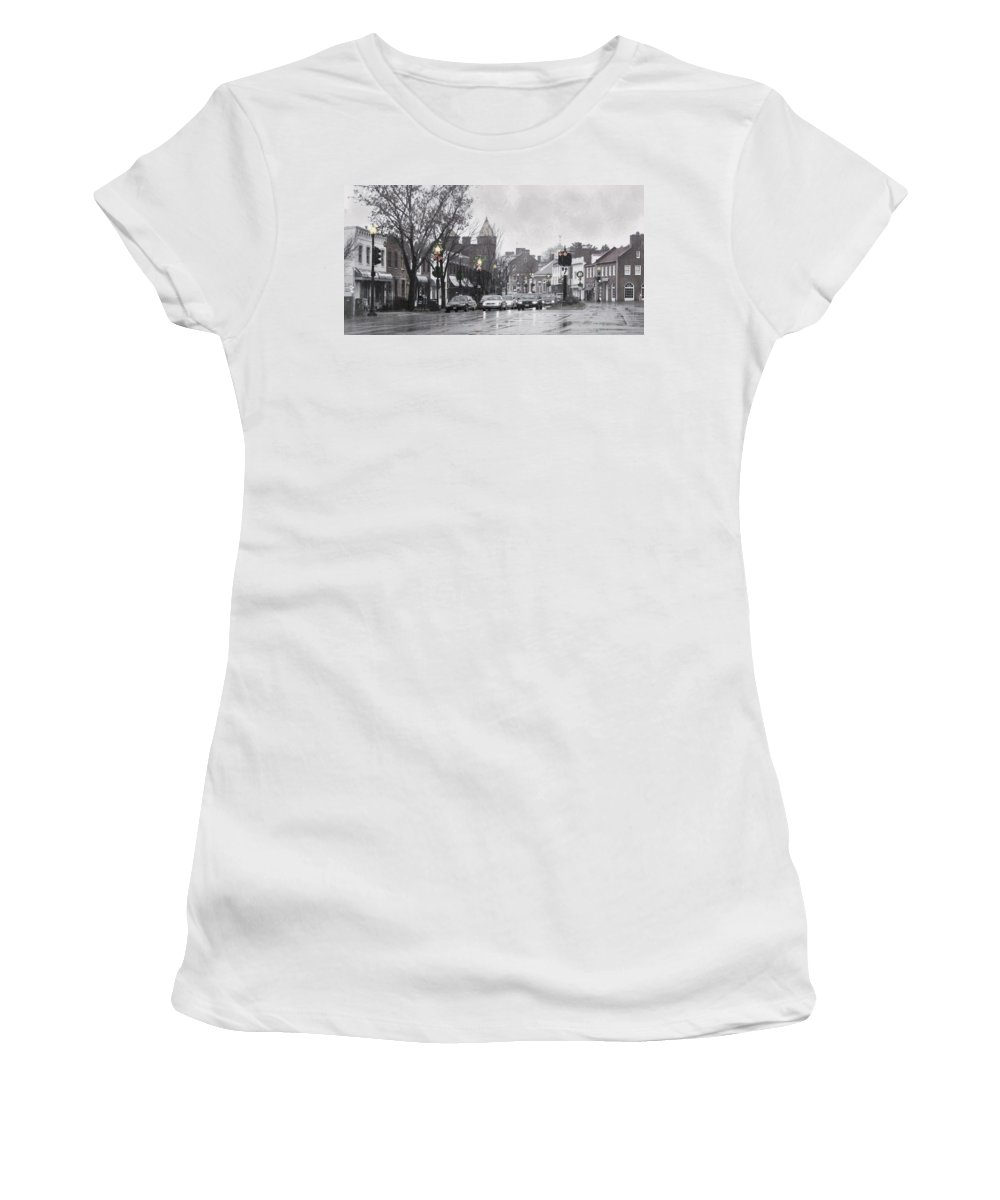City Women's T-Shirt (Athletic Fit) featuring the photograph Christmas City Street by Francesa Miller