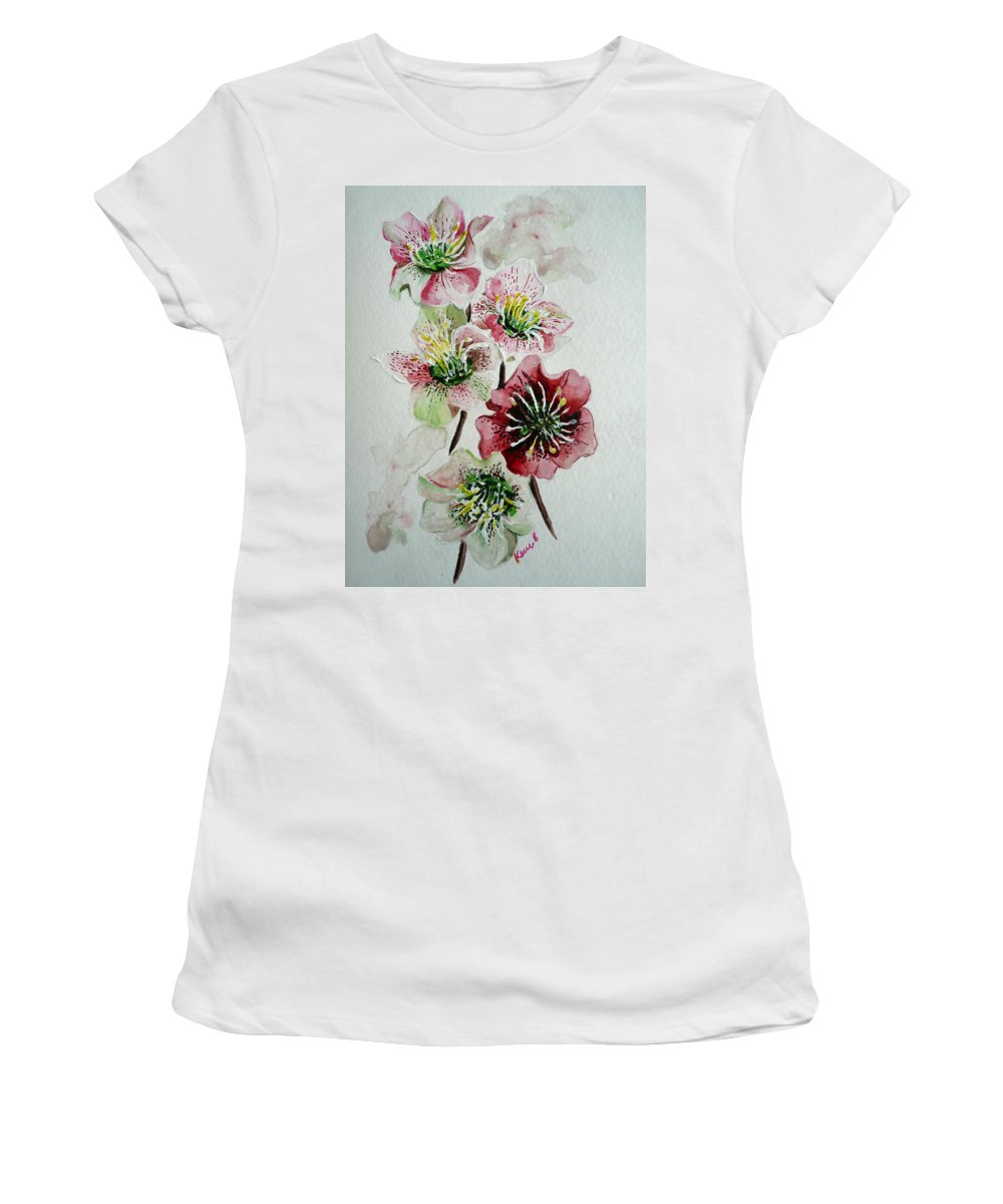 Floral Flower Pink Women's T-Shirt (Athletic Fit) featuring the painting Christmas Rose by Karin Dawn Kelshall- Best