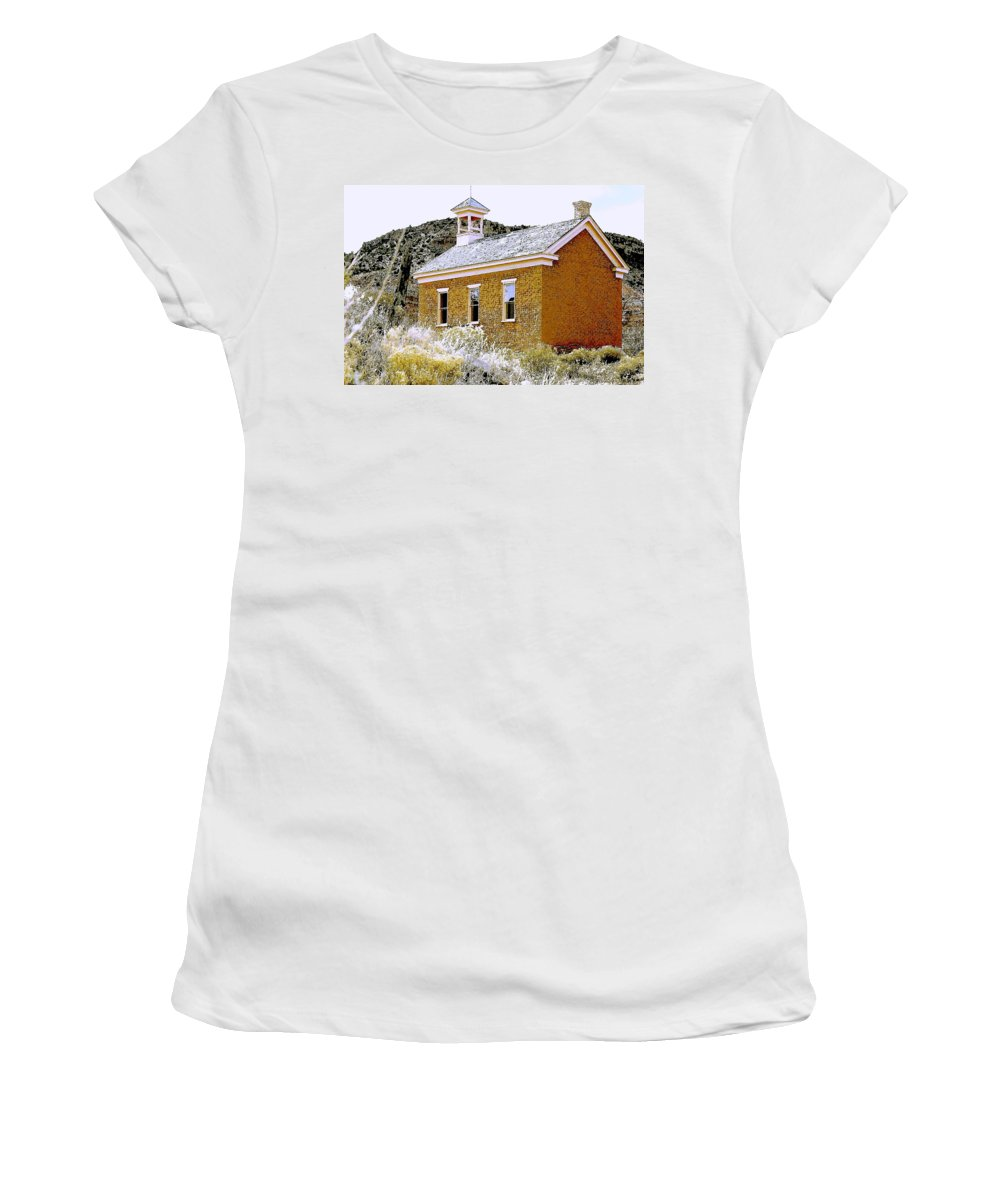 Church Women's T-Shirt (Athletic Fit) featuring the photograph Church - Grafton Utah by Nelson Strong