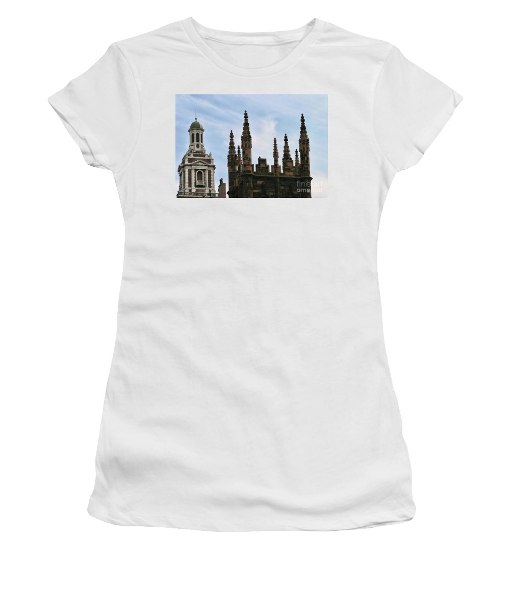 New York Women's T-Shirt (Athletic Fit) featuring the photograph Church Architecture II Nyc by Chuck Kuhn