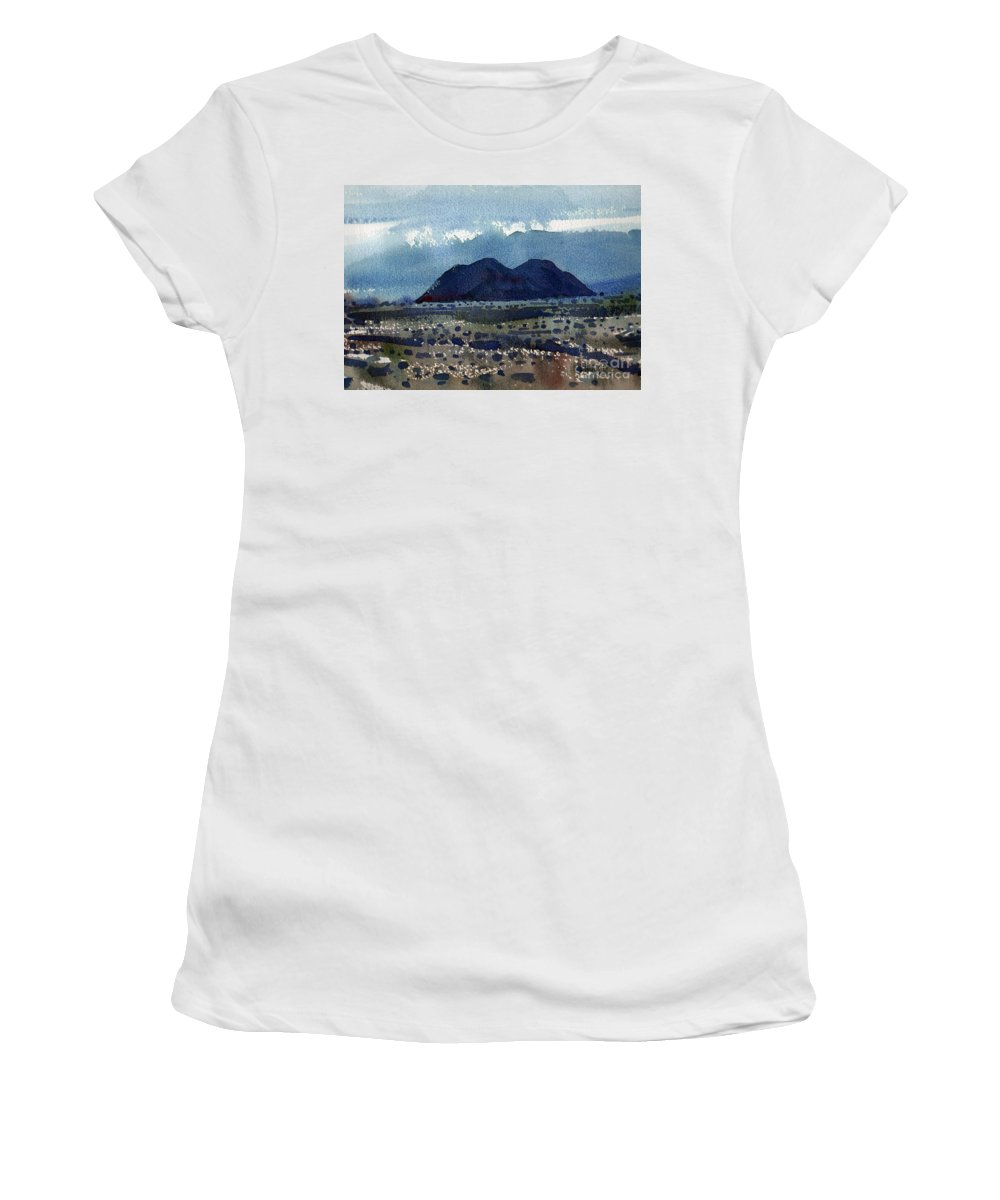 Cinder Cone Women's T-Shirt (Athletic Fit) featuring the painting Cinder Cone Death Valley by Donald Maier