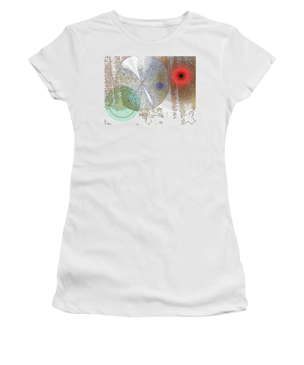 Abstract Women's T-Shirt (Athletic Fit) featuring the digital art Circles In The Musical Forest by Lenore Senior