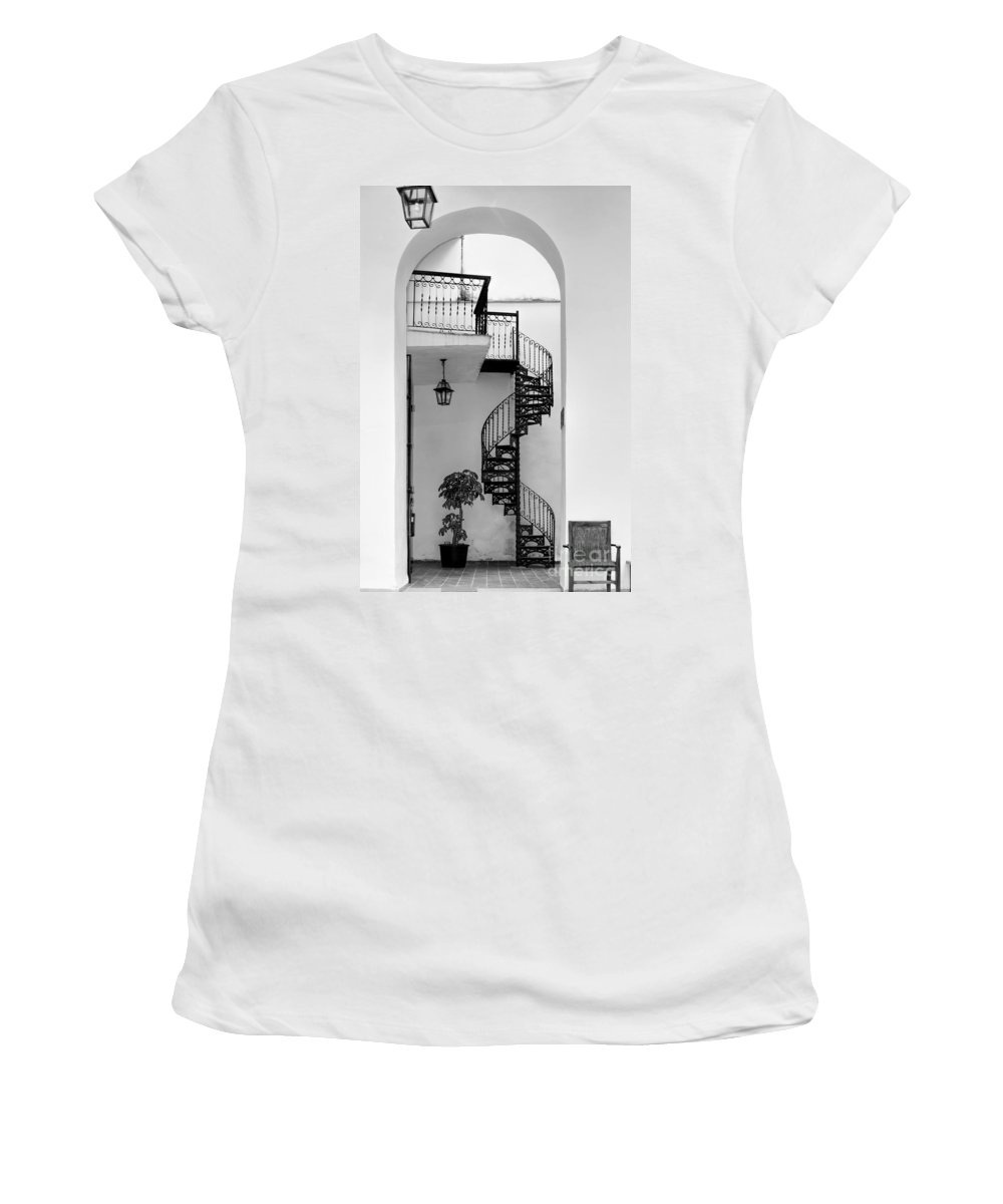Circular Women's T-Shirt (Athletic Fit) featuring the photograph Circular Staircase In Black And White by Les Palenik