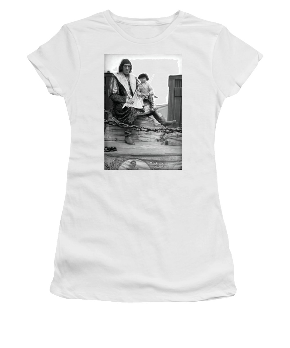 Circus Giant Women's T-Shirt (Athletic Fit) featuring the photograph Circus Giant And Harry Doll by Unknown