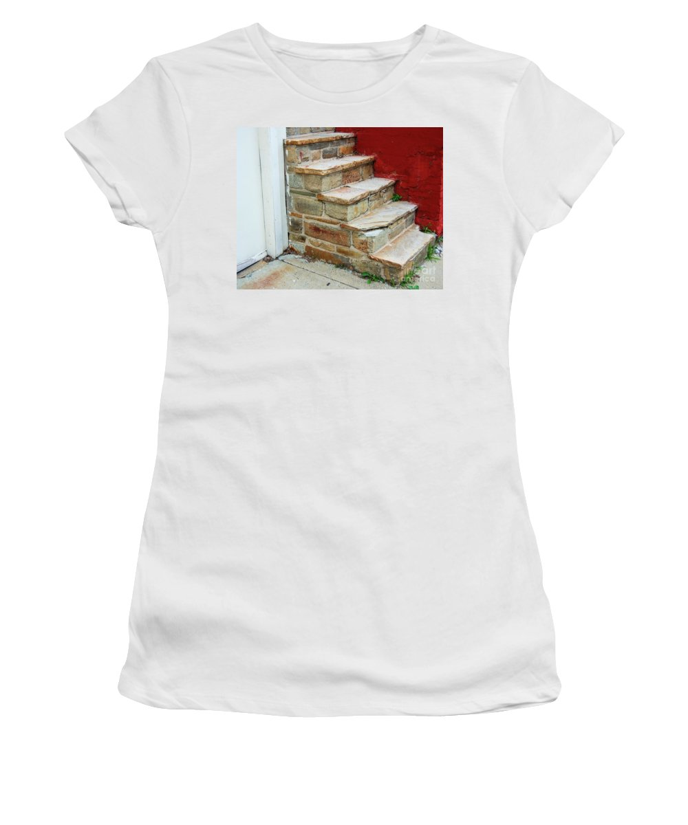 Steps Women's T-Shirt (Athletic Fit) featuring the photograph City Steps by Debbi Granruth