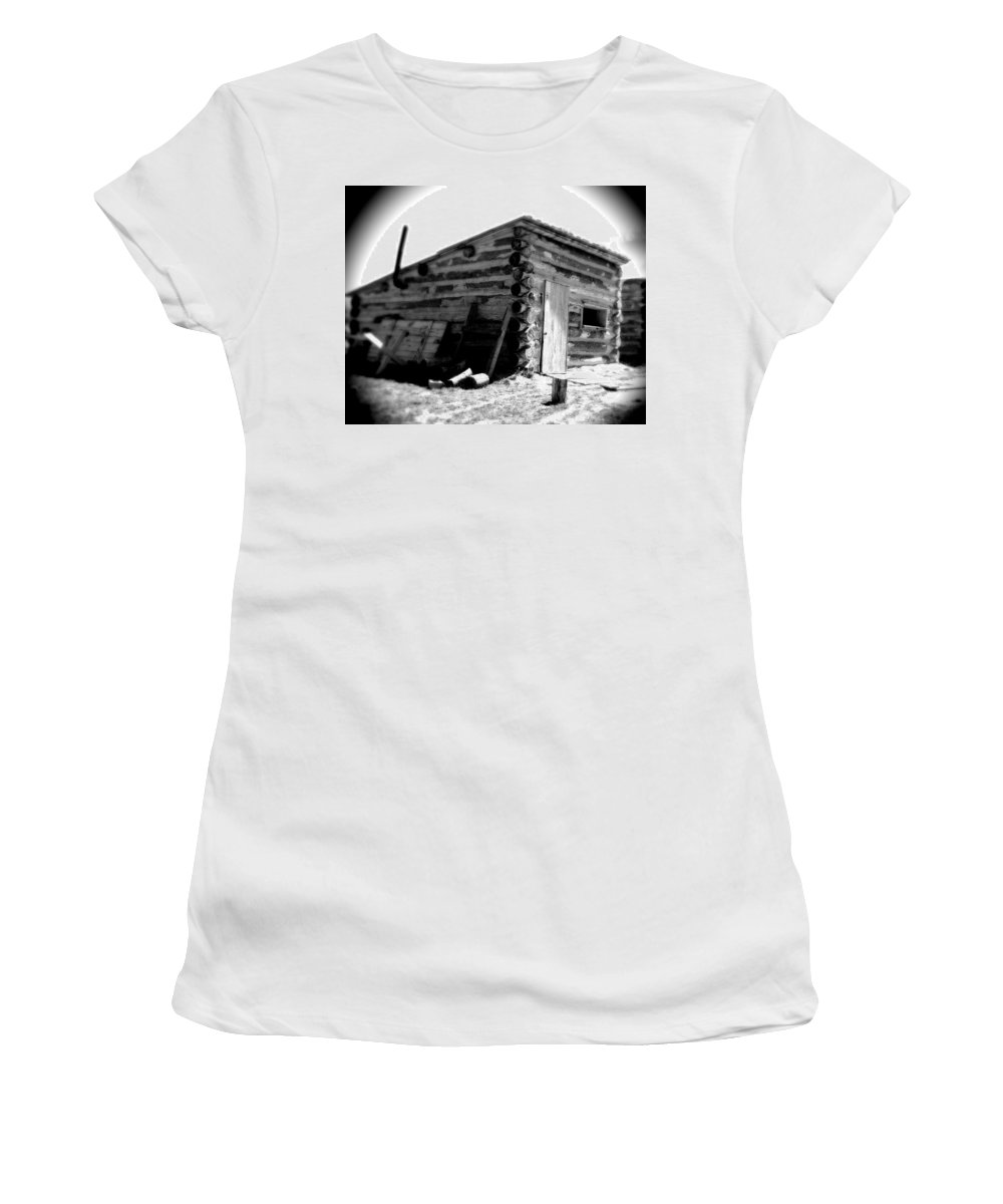 Army Women's T-Shirt (Athletic Fit) featuring the photograph Civil War Cabin 1 Army Heritage Education Center by Jean Macaluso