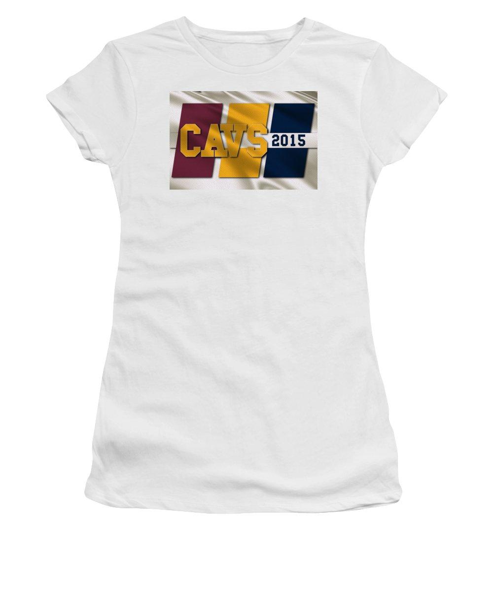 Cavaliers Women's T-Shirt featuring the photograph Cleveland Cavaliers Flag by Joe Hamilton