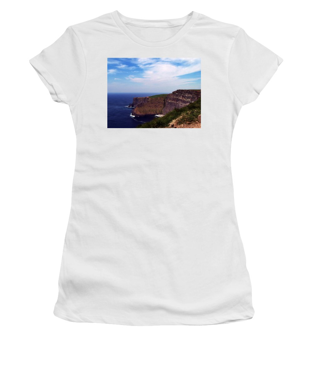 Irish Women's T-Shirt (Athletic Fit) featuring the photograph Cliffs Of Moher Aill Na Searrach Ireland by Teresa Mucha