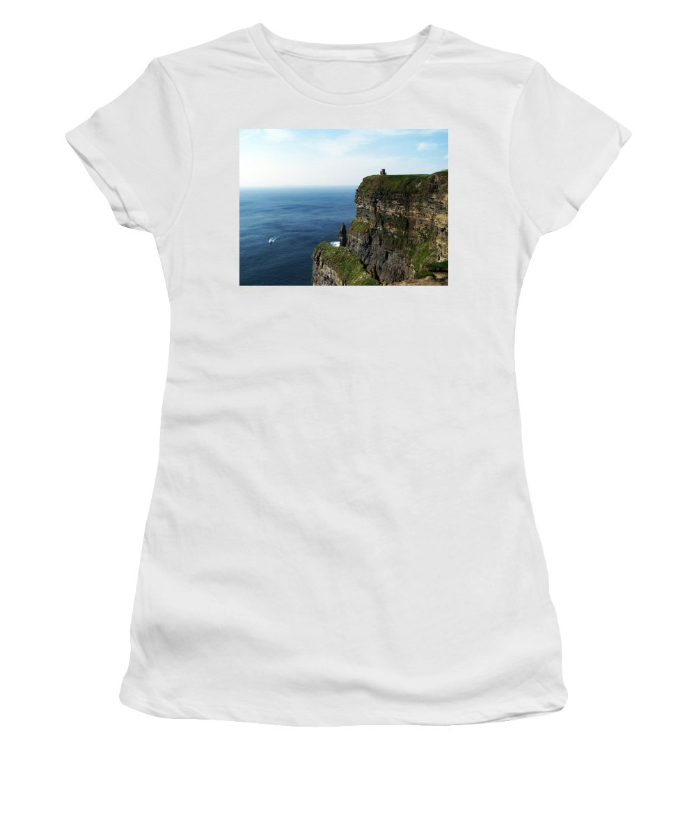 Irish Women's T-Shirt (Athletic Fit) featuring the photograph Cliffs Of Moher Ireland by Teresa Mucha