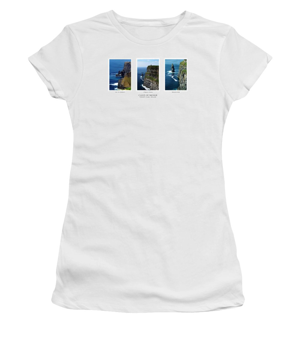 Irish Women's T-Shirt (Athletic Fit) featuring the photograph Cliffs Of Moher Ireland Triptych by Teresa Mucha