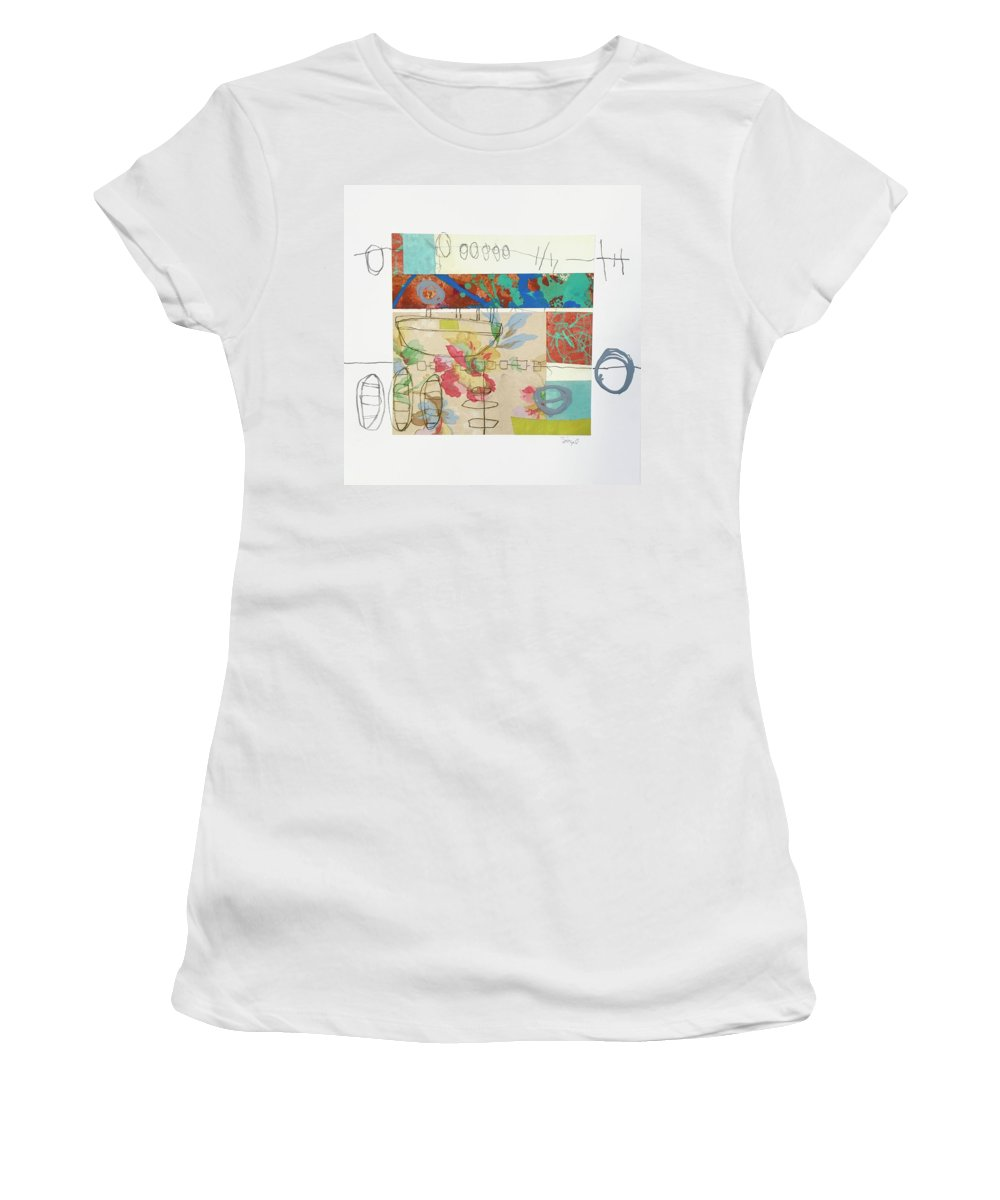 Contemporary Collage Painting Women's T-Shirt (Athletic Fit) featuring the mixed media Close To Water 4 by Suzanne Siegel
