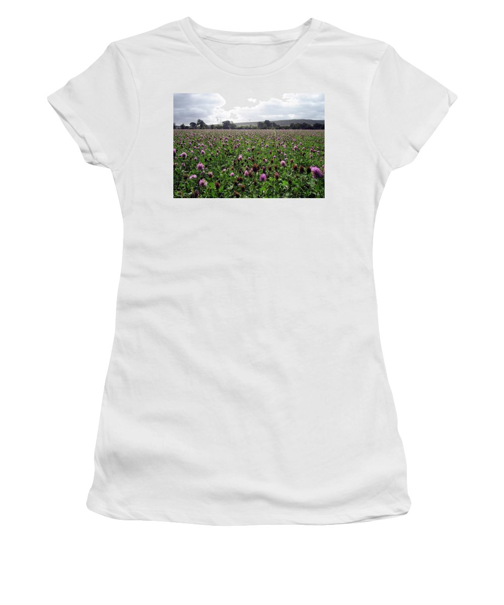 Flowers Women's T-Shirt featuring the photograph Clover Field Wiltshire England by Kurt Van Wagner