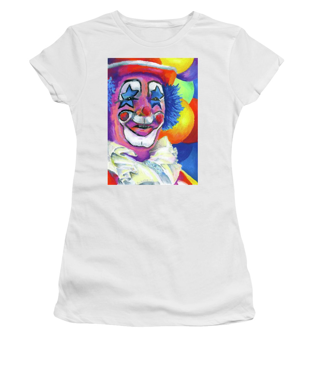 Clown Women's T-Shirt (Athletic Fit) featuring the painting Clown With Balloons by Stephen Anderson