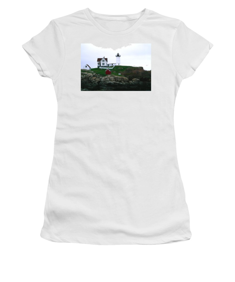 Landscape Lighthouse Nautical New England Nubble Light Cape Neddick Women's T-Shirt (Athletic Fit) featuring the photograph Cnrf0502 by Henry Butz