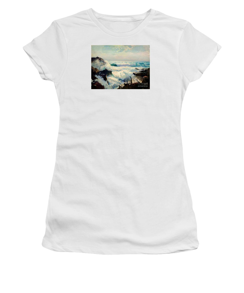Frederick Judd Waugh - Coast Of Maine Women's T-Shirt (Athletic Fit) featuring the painting Coast Of Maine by MotionAge Designs
