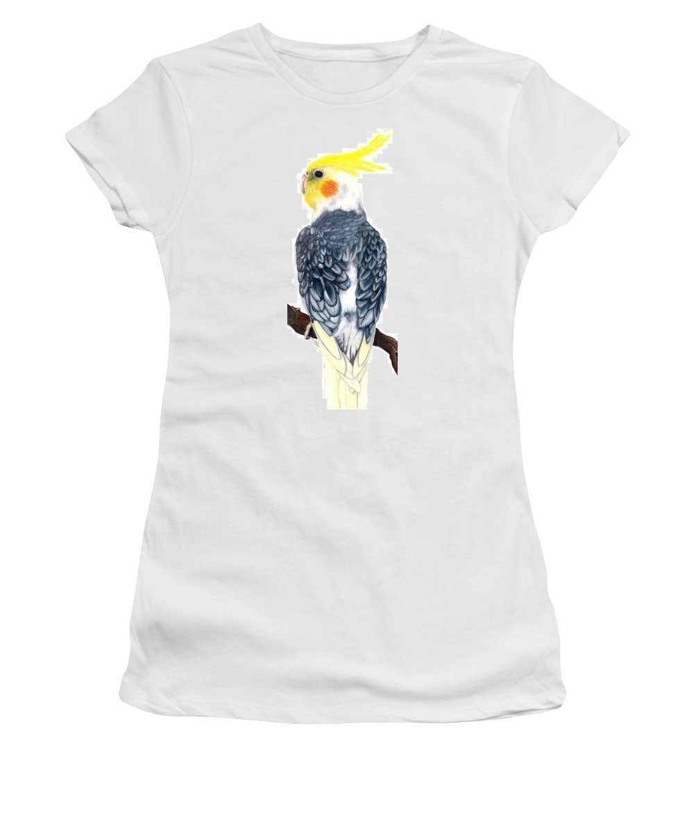 Cockatiel Women's T-Shirt (Athletic Fit) featuring the drawing Cockatiel 1 by Kristen Wesch