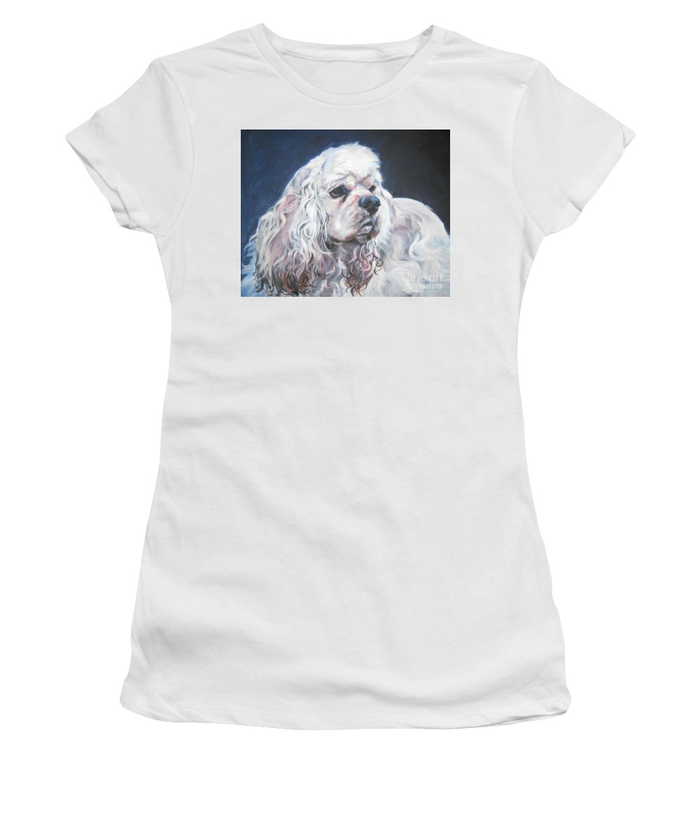 Cocker Spaniel Women's T-Shirt (Athletic Fit) featuring the painting Cocker Spaniel 1 by Lee Ann Shepard