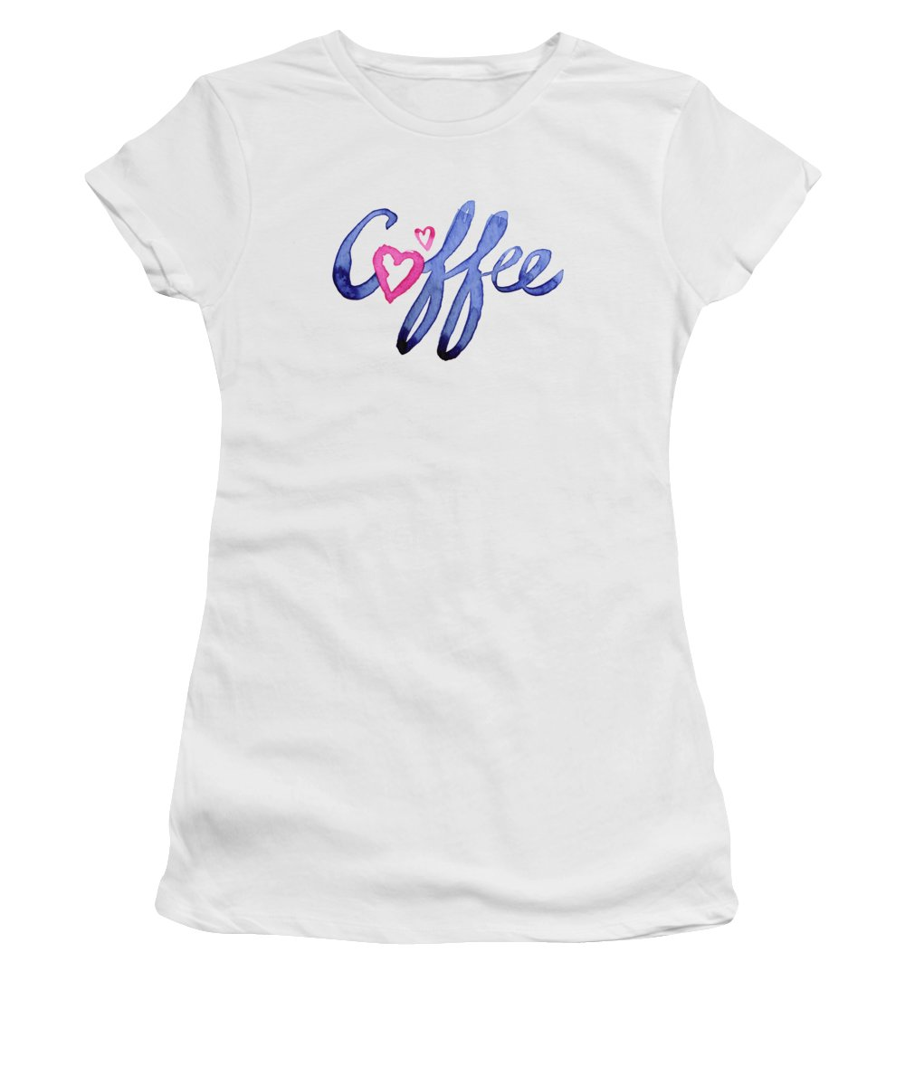 Coffee Women's T-Shirt featuring the painting Coffee Lover Typography by Olga Shvartsur