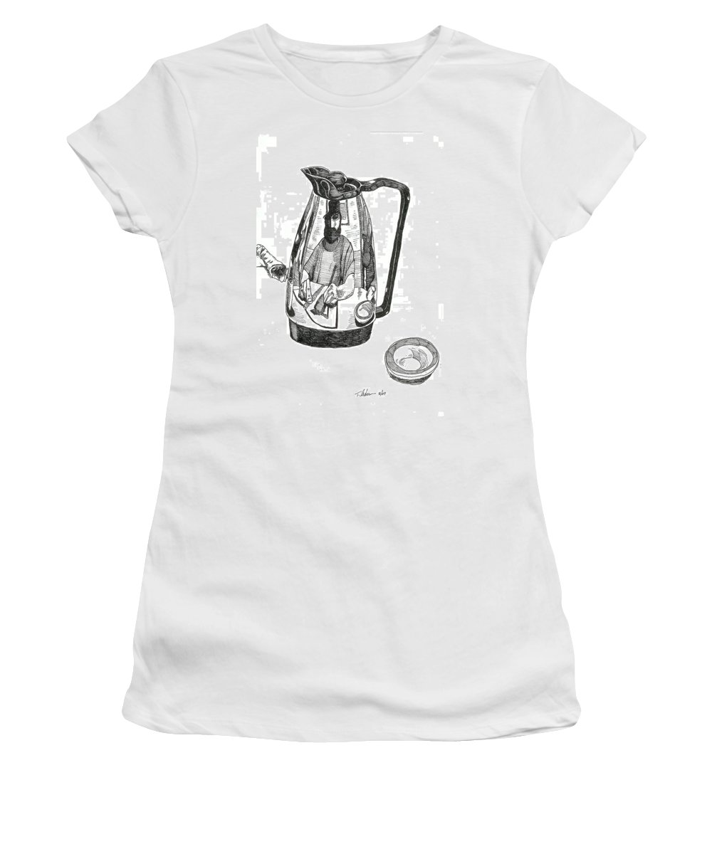 Pen And Ink Women's T-Shirt (Athletic Fit) featuring the drawing Coffee Pot by Tobey Anderson