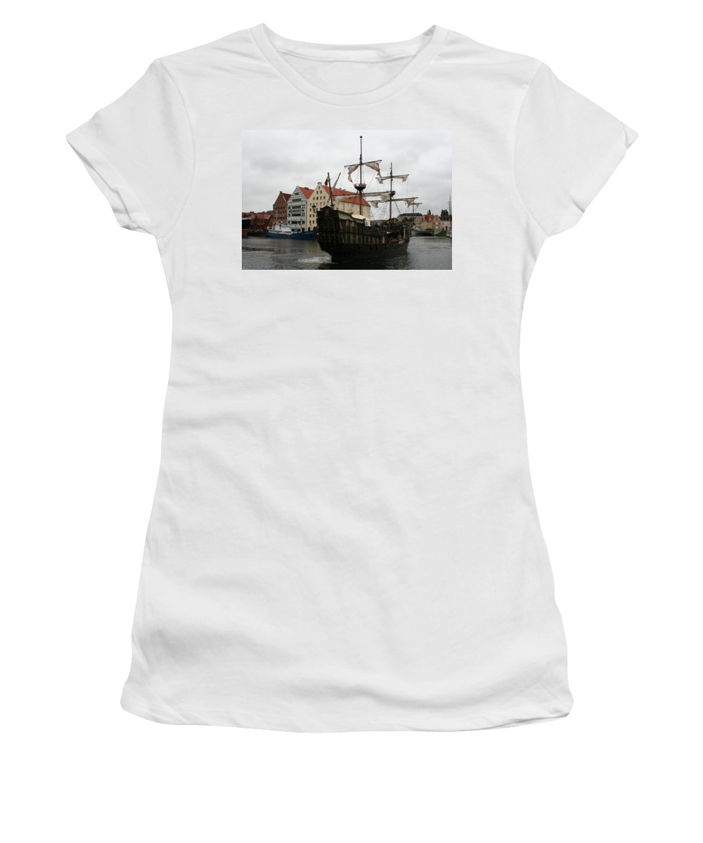Ship Women's T-Shirt featuring the photograph Cog On Wotlawa River by Christiane Schulze Art And Photography