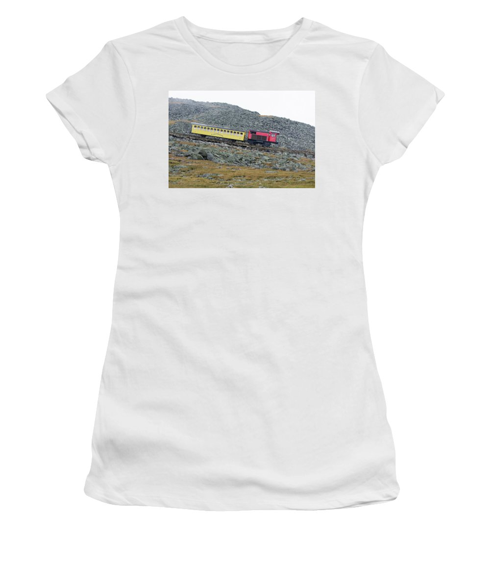 Women's T-Shirt (Athletic Fit) featuring the photograph Cog Railway On Top Of Mt Washington by Kenneth Bourassa