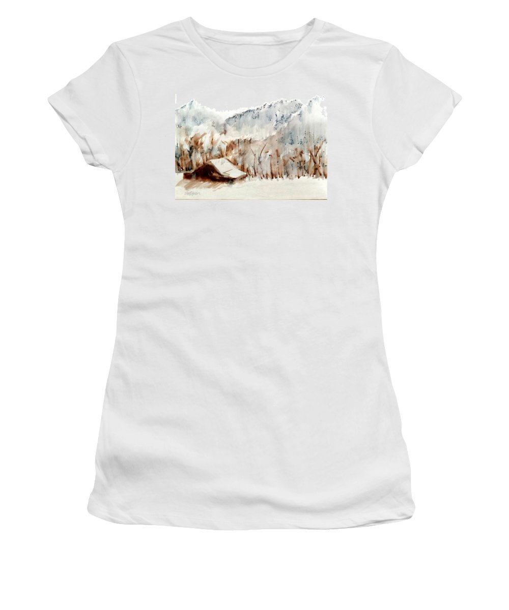 Cold Cove Women's T-Shirt (Athletic Fit) featuring the mixed media Cold Cove by Seth Weaver