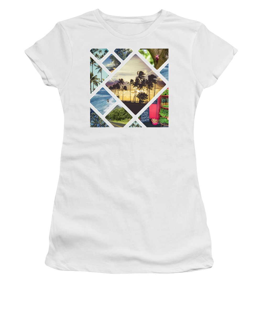 Beach Women's T-Shirt (Athletic Fit) featuring the photograph Collage Of Hawaii by Mariusz Prusaczyk