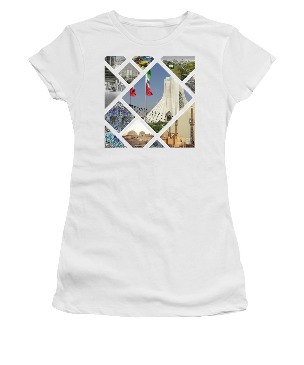 Iran Women's T-Shirt (Athletic Fit) featuring the photograph Collage Of Iran Images by Mariusz Prusaczyk
