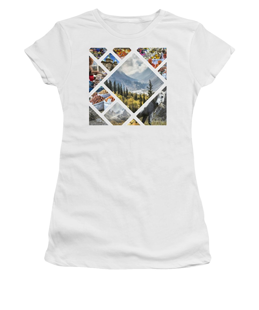 Market Women's T-Shirt (Athletic Fit) featuring the photograph Collage Of Kyrgyzstan by Mariusz Prusaczyk