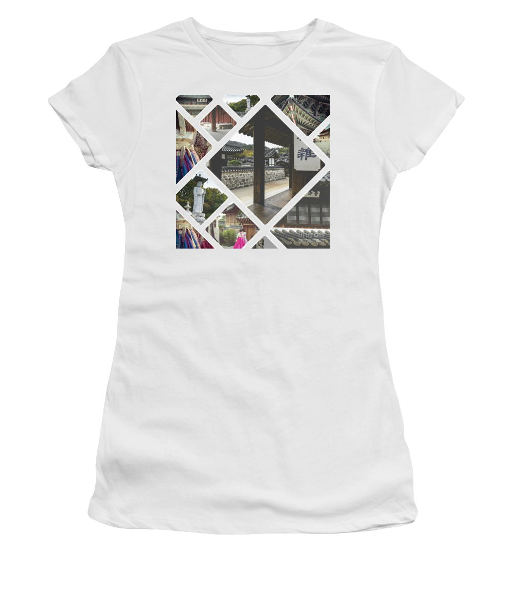 Seoul Women's T-Shirt (Athletic Fit) featuring the photograph Collage Of Seoul by Mariusz Prusaczyk