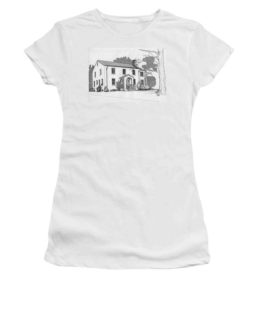 Drawing - Pen And Ink Women's T-Shirt (Athletic Fit) featuring the drawing Colonel Quarters 2 - Fort Benning Ga by Marco Morales