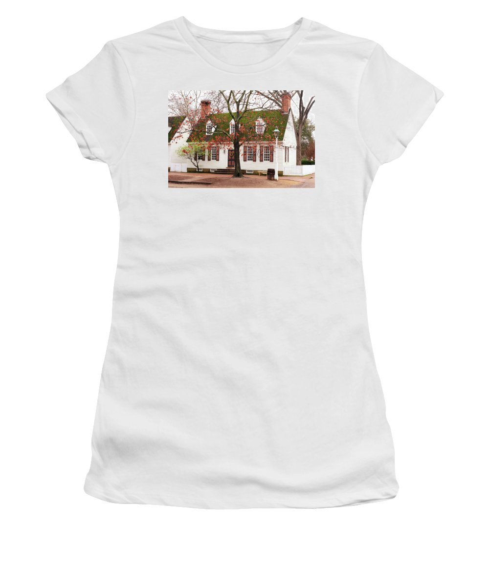 American Women's T-Shirt featuring the photograph Colonial House by Lou Ford