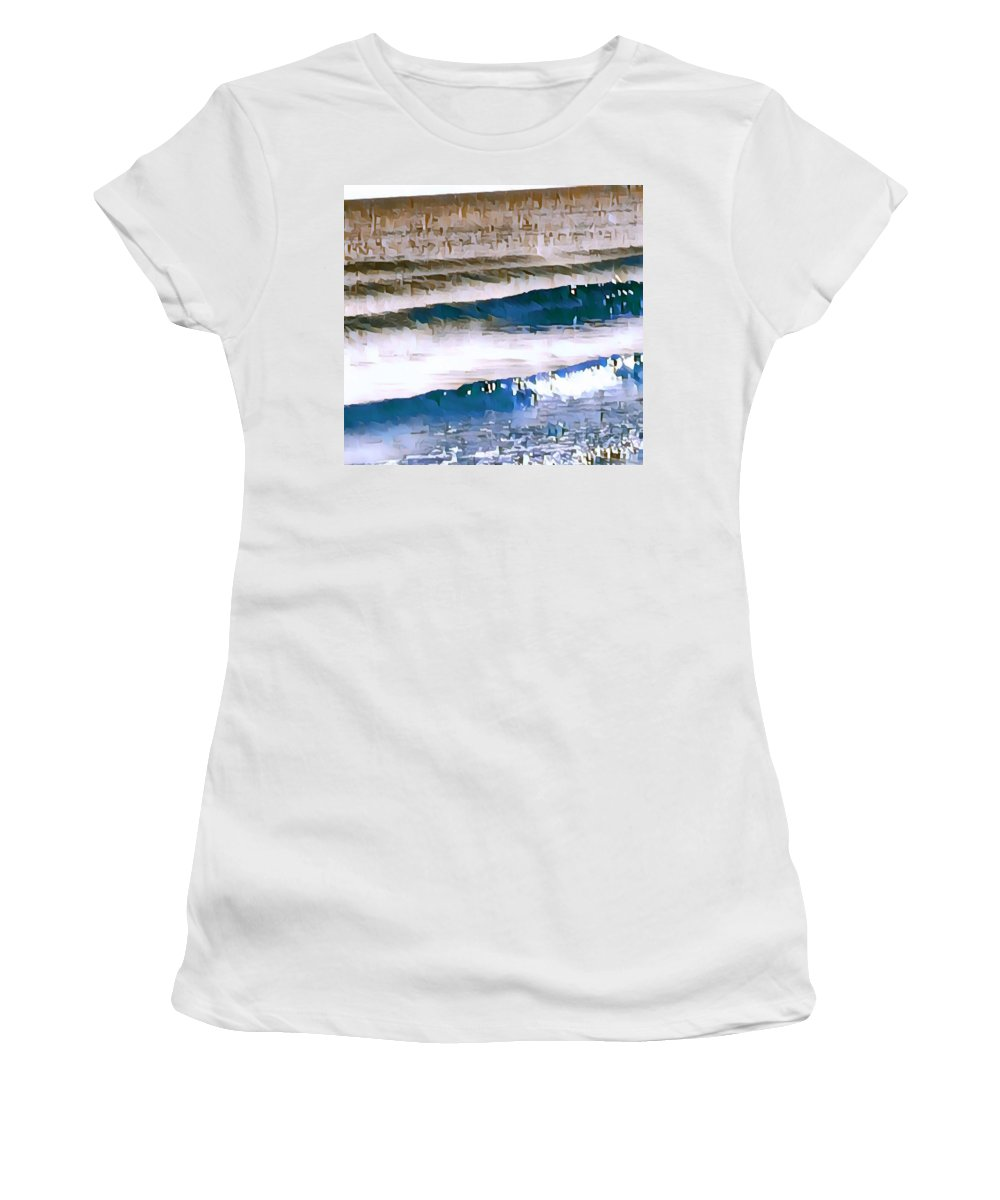 Water Women's T-Shirt (Athletic Fit) featuring the digital art Color Movement-blue And Beige by Brenda Plyer