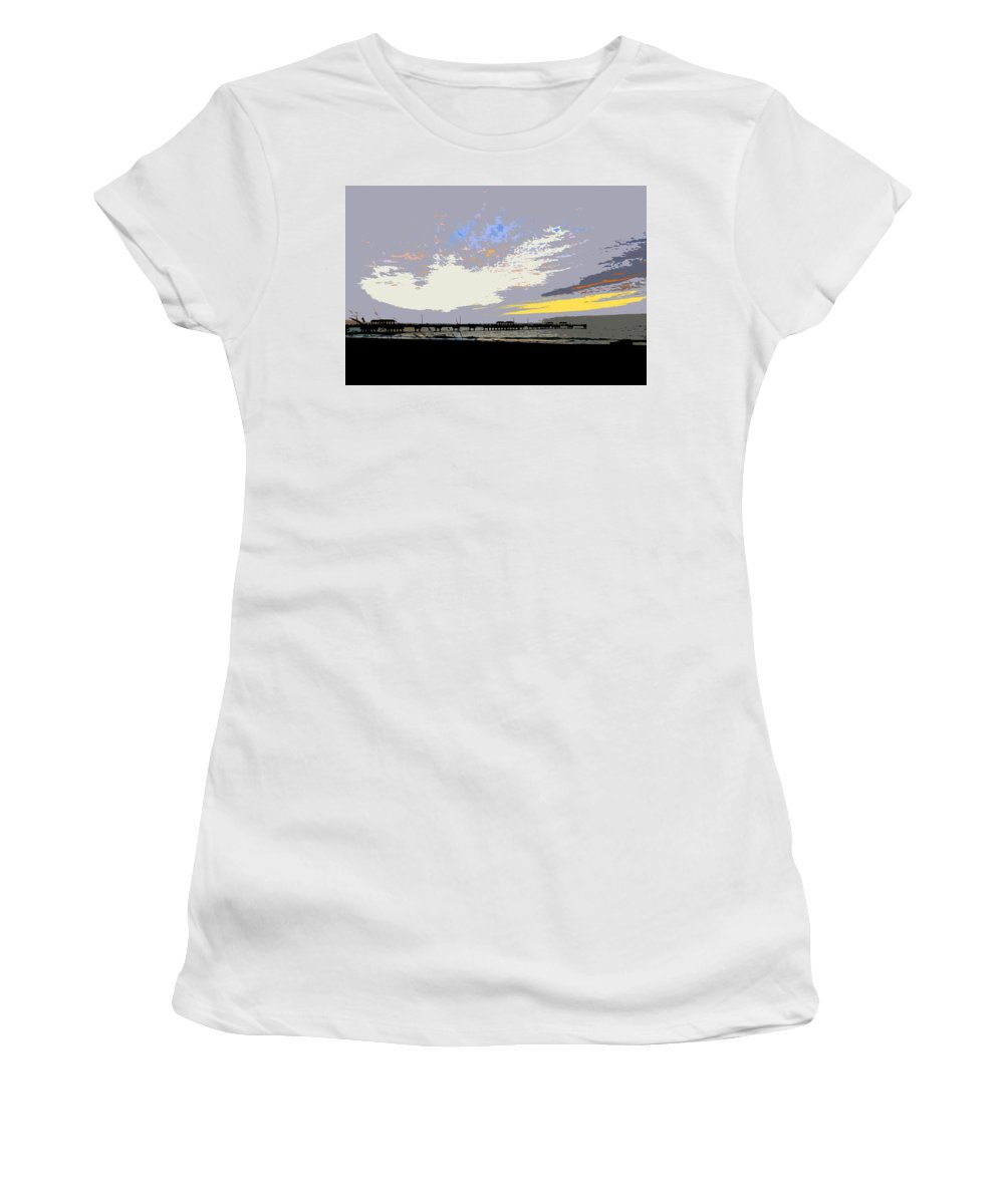 Fishing Women's T-Shirt (Athletic Fit) featuring the painting Colored Sky by David Lee Thompson