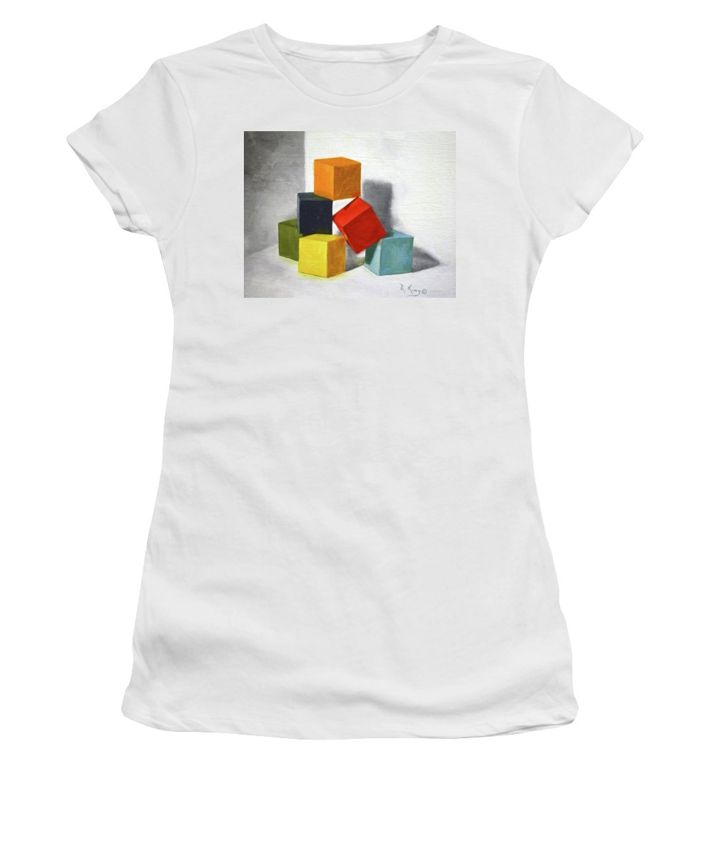 Roena King Women's T-Shirt (Athletic Fit) featuring the painting Colorful Blocks by Roena King