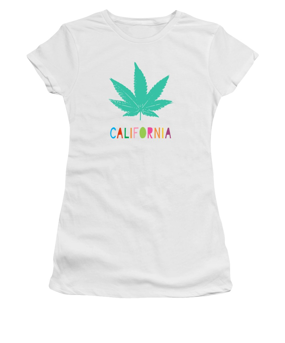 California Women's T-Shirt featuring the mixed media Colorful California Cannabis- Art By Linda Woods by Linda Woods