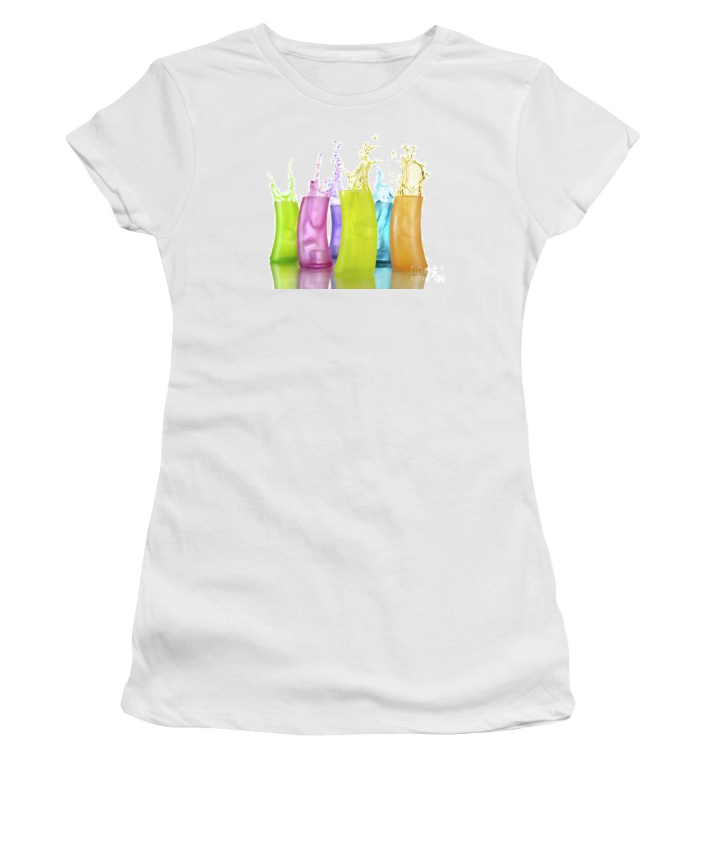 Colors Women's T-Shirt featuring the photograph Colorful Drink Splashing From Glasses by Oleksiy Maksymenko