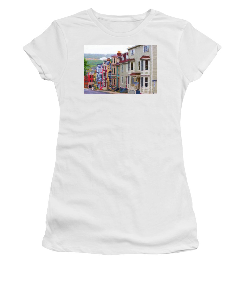 St.john's Women's T-Shirt (Athletic Fit) featuring the digital art Colorful Houses In St. Johns, Nl by Les Palenik