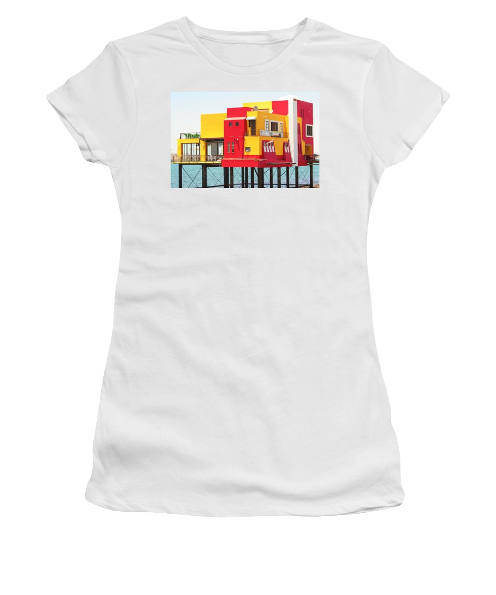 Colorful; Building; Mexico; Architecture; Sea; Ocean; Landscape Women's T-Shirt featuring the photograph Colorful Mexico by James BO Insogna