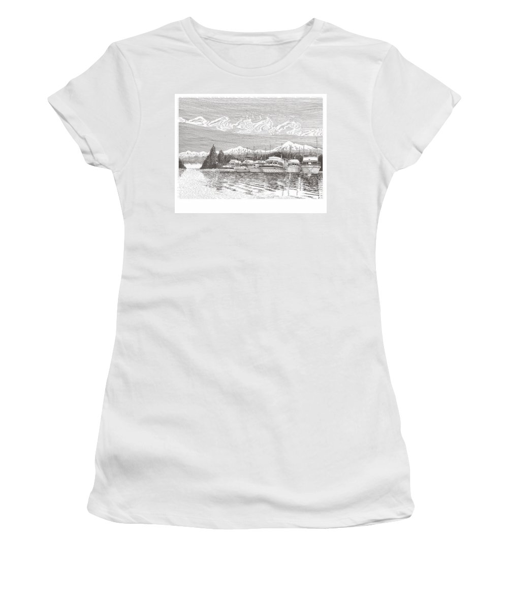 Marine Paintings Marine Art. Canvas Prints Of Boats. Prints Of Boats. Prints Of Waterfront Art. Canvas Prints Of Yachts. Framed Marine Transportation Art Women's T-Shirt (Athletic Fit) featuring the drawing Columbia River Raft Up by Jack Pumphrey