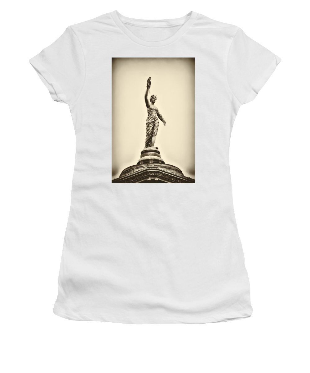 Philadelphia Women's T-Shirt (Athletic Fit) featuring the photograph Columbia Statue Atop Memorial Hall by Bill Cannon