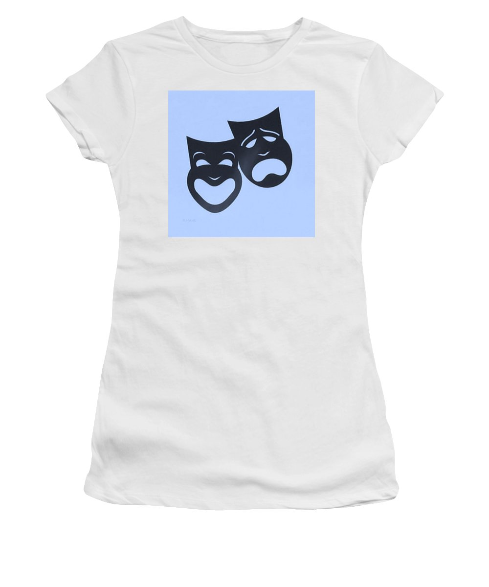 Comedy And Tragedy Women's T-Shirt featuring the photograph Comedy N Tragedy Neg Cyan by Rob Hans