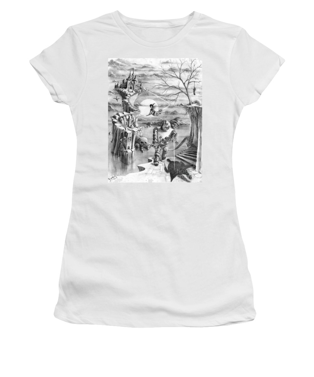 Witch Women's T-Shirt (Athletic Fit) featuring the drawing Comic Book Cover by Murphy Elliott